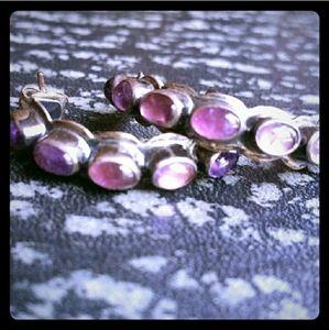 Vintage 90s Amethyst Inlay Half Hoop Earrings